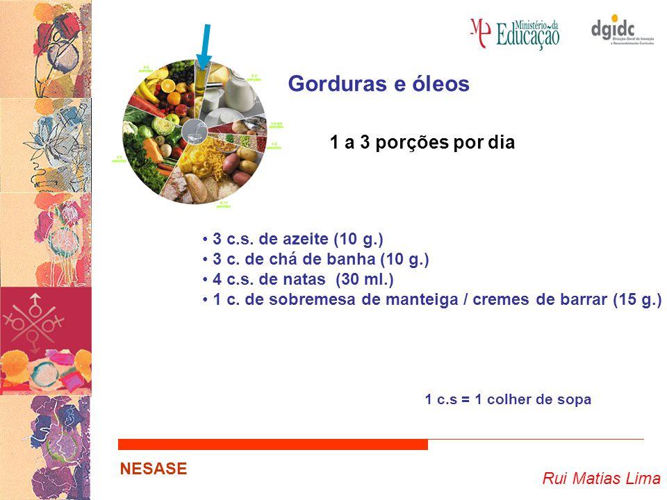 Rui Matias Lima NESASE Gorduras e óleos 1 a 3 porções por dia 3 c.s. de azeite (10 g.) 3 c. de chá de banha (10 g.) 4 c.s. de natas (30 ml.) 1 c. de s