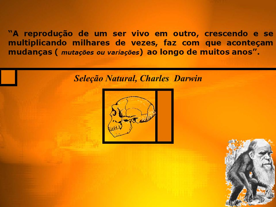 """Seleção Natural, Charles Darwin """"A reprodução de um ser vivo em outro, crescendo e se multiplicando milhares de vezes, faz com que aconteçam mudanças"""