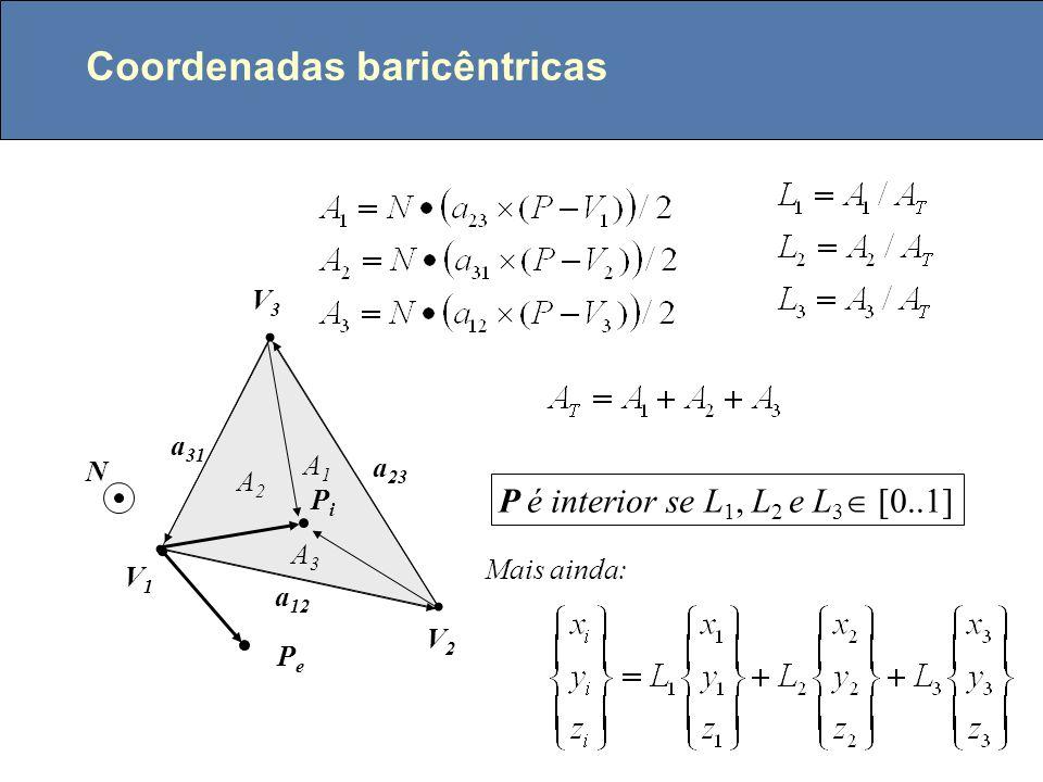Ponto no interior de um triângulo V1V1 V2V2 V3V3 PiPi PePe a 12 a 23 a 31 N P é interior se t 1, t 2 e t 3 tem o mesmo sentido, ou seja: