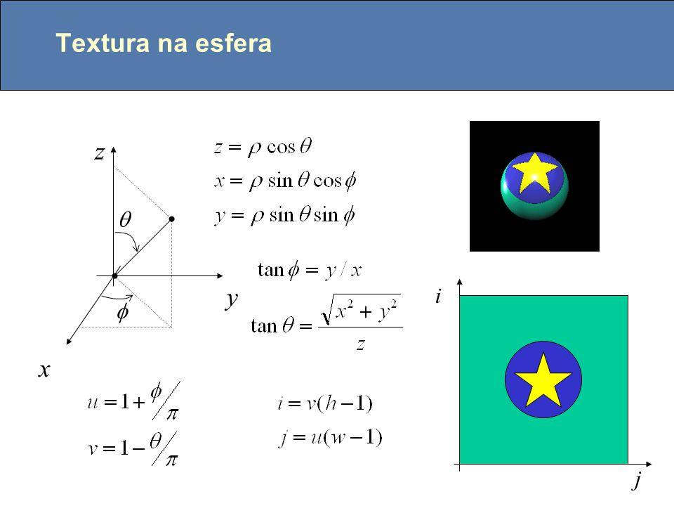 Normal e textura Pertubar aleatóriamente as normais dos objetos N N' A cor de um ponto depende de sua posição num mapa de textura