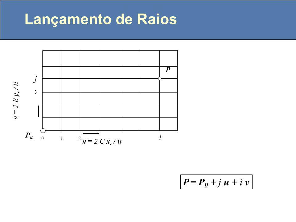 Canto inferior esquerdo da janela no plano (near ou far) P ll = eye - Az e - By e -C x e eye z0z0 y0y0 x0x0 A zeze xexe yeye B C yeye zeze A B B fovy/2 B = A tan(fovy/2) 2B h pixels 2C w pixels C = B.w / h Vista lateral Pixel quadrado: Vista no plano Plano near: A = near Plano far: A = far