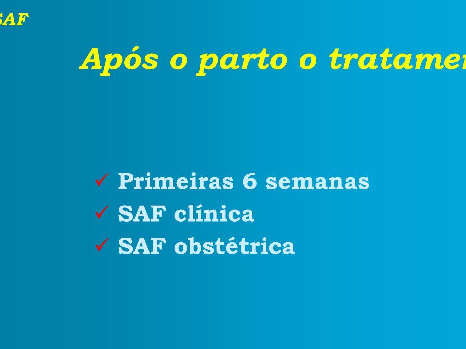 SAF Após o parto o tratamento continua? Primeiras 6 semanas SAF clínica SAF obstétrica