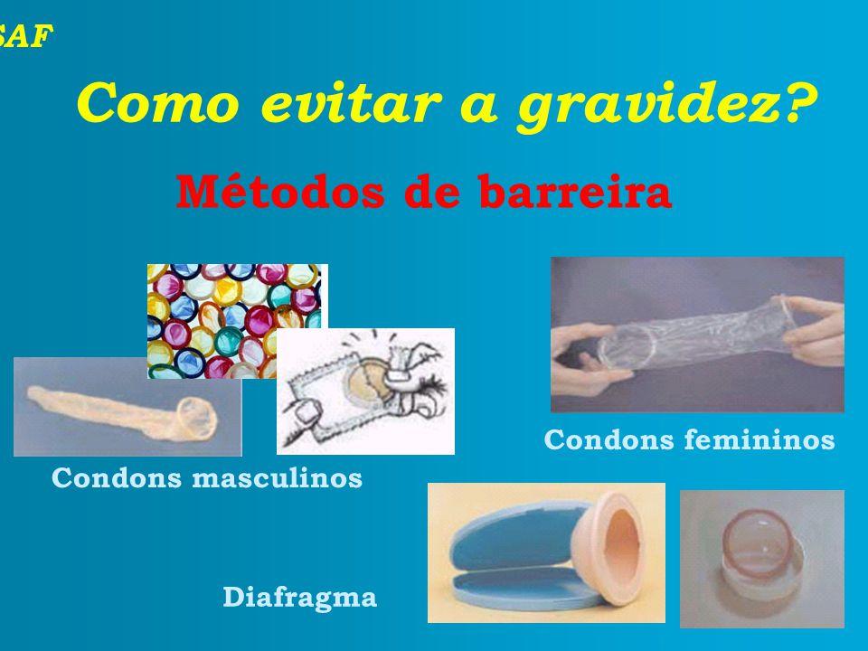 SAF Como evitar a gravidez? Métodos de barreira Condons masculinos Condons femininos Diafragma