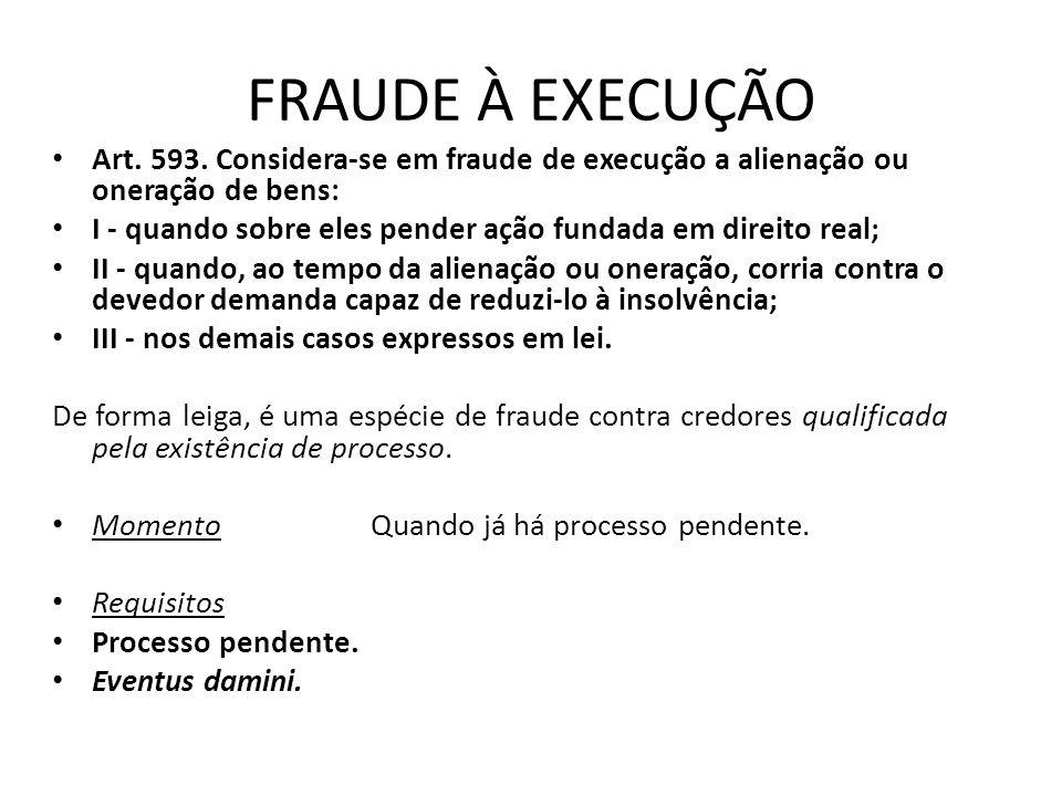 FRAUDE À EXECUÇÃO Art. 593. Considera-se em fraude de execução a alienação ou oneração de bens: I - quando sobre eles pender ação fundada em direito r