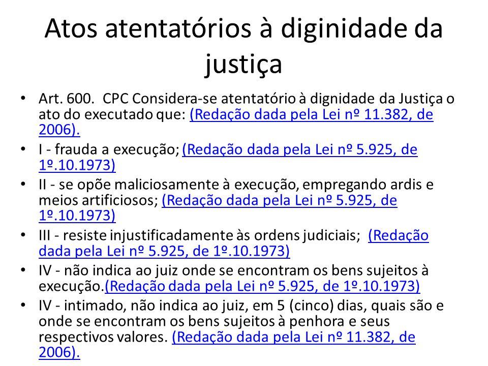 ATOS ATENTATÓRIOS À DIGNIDADE DA JUSTIÇA PUNIÇÃO MULTA DE ATÉ 20% DO VALOR ATUALIZADO DO DÉBITO SANÇÕES DE NATUREZA PROCESSUAL OU MATERIAL VALOR REVERTIDO AO CREDOR, EXIGÍVEL NA PRÓPRIA EXECUÇÃO O JUIZ PODE RELEVAR A APLICAÇÃO DA MULTA SE: O CREDOR SE COMPROMETER A NÃO MAIS PRATICAR OS ATOS DO ART.600 CPC +DER FIADOR