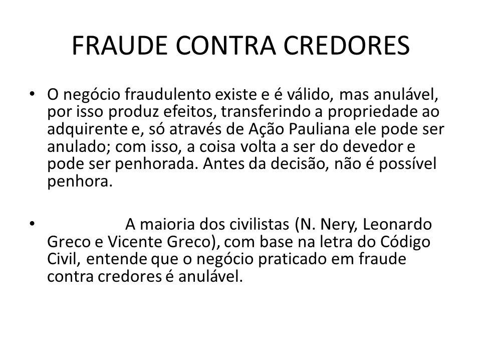 FRAUDE CONTRA CREDORES O negócio fraudulento existe e é válido, mas anulável, por isso produz efeitos, transferindo a propriedade ao adquirente e, só