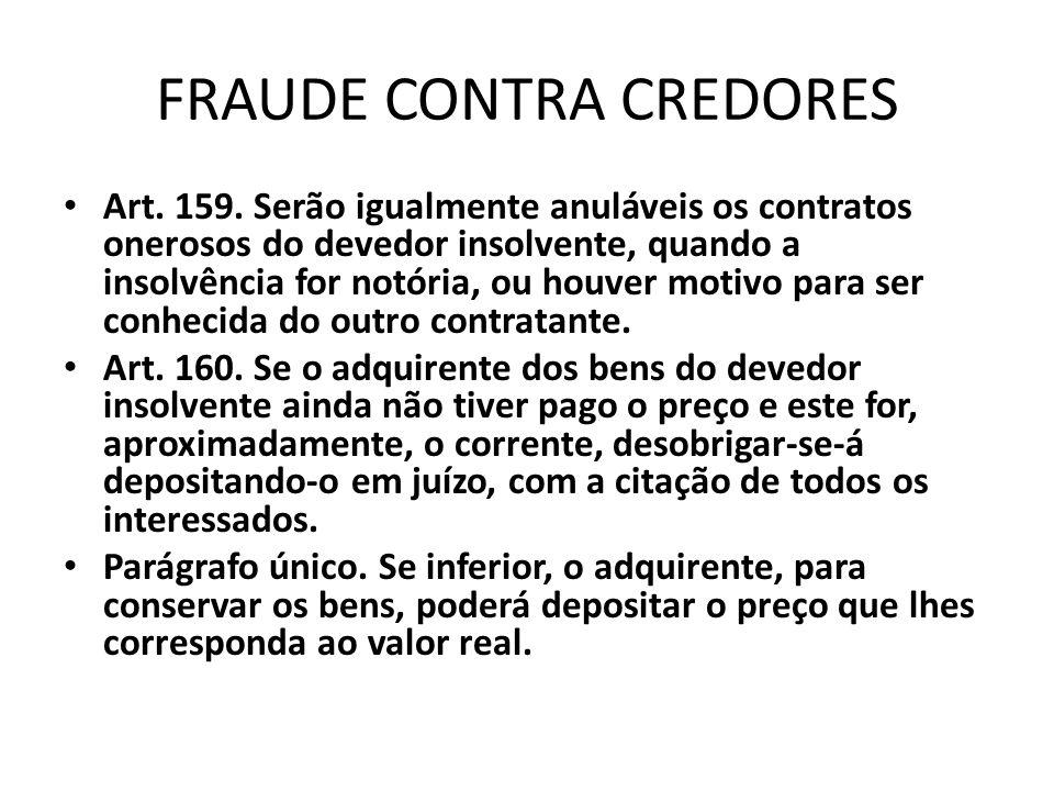 FRAUDE CONTRA CREDORES Art. 159. Serão igualmente anuláveis os contratos onerosos do devedor insolvente, quando a insolvência for notória, ou houver m