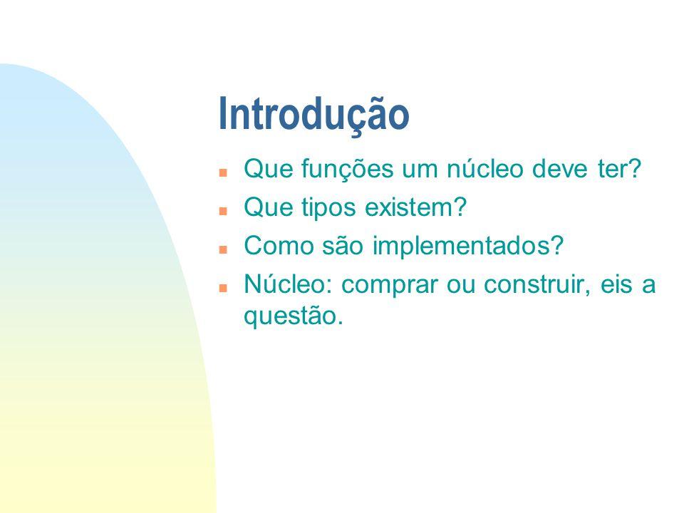 Introdução n Que funções um núcleo deve ter? n Que tipos existem? n Como são implementados? n Núcleo: comprar ou construir, eis a questão.