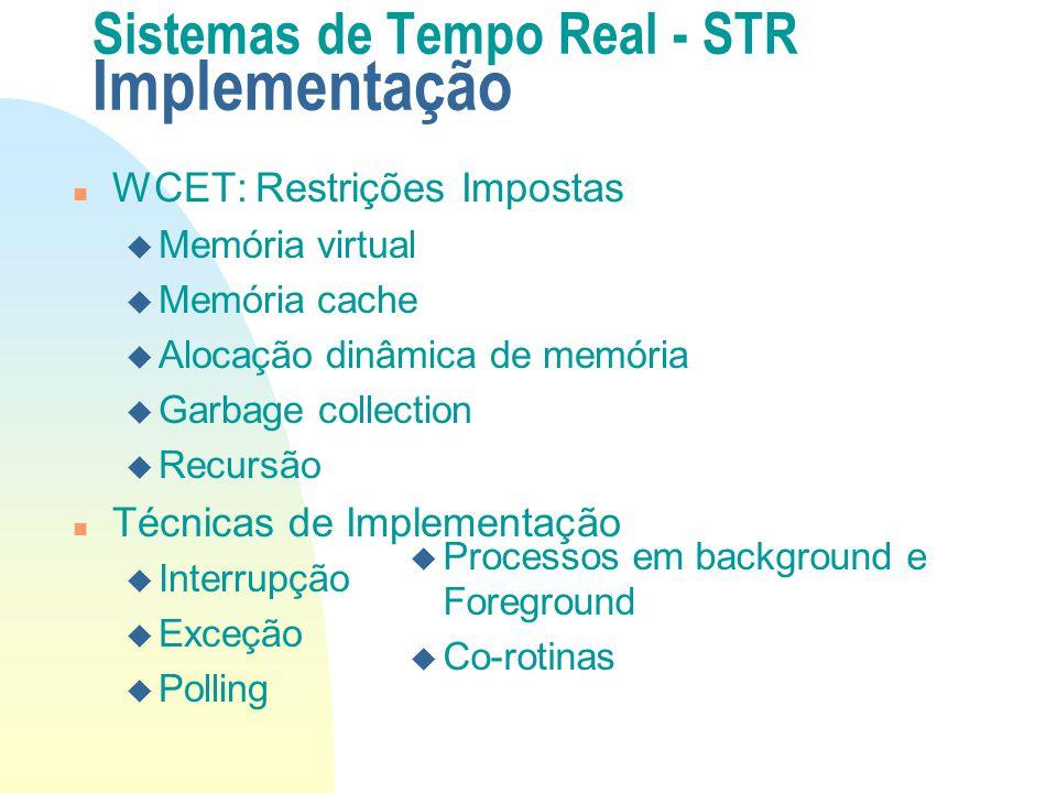 Sistemas de Tempo Real - STR Implementação n WCET: Restrições Impostas u Memória virtual u Memória cache u Alocação dinâmica de memória u Garbage coll