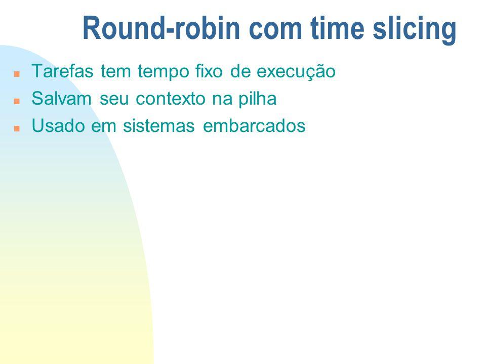 Round-robin com time slicing n Tarefas tem tempo fixo de execução n Salvam seu contexto na pilha n Usado em sistemas embarcados