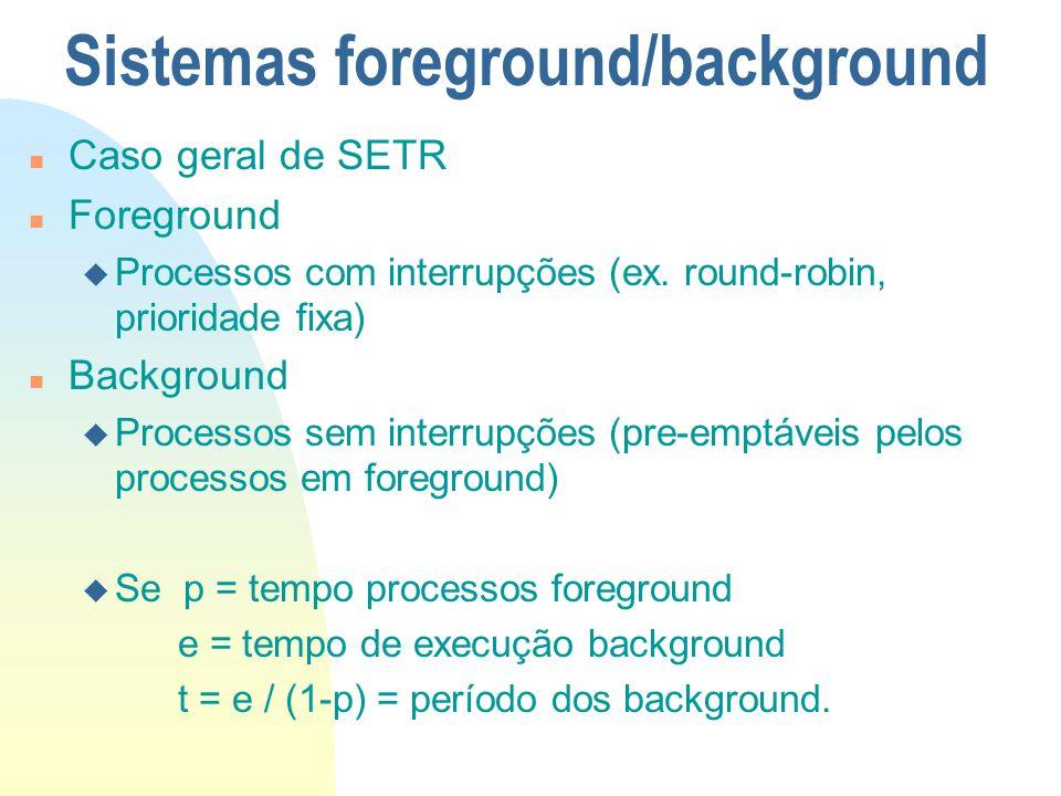 Sistemas foreground/background n Caso geral de SETR n Foreground u Processos com interrupções (ex. round-robin, prioridade fixa) n Background u Proces