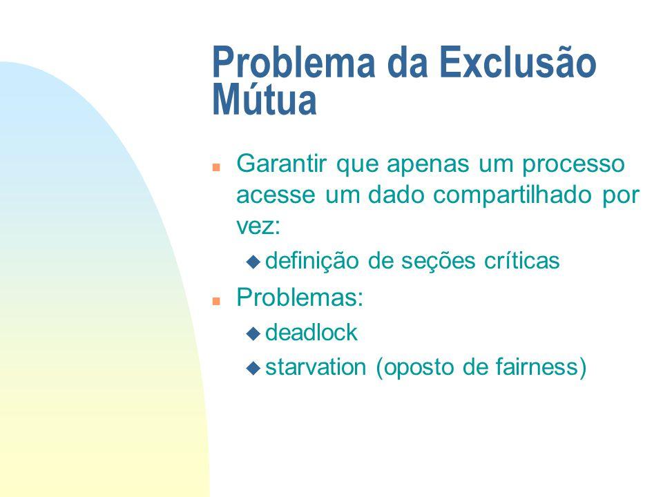 Problema da Exclusão Mútua n Garantir que apenas um processo acesse um dado compartilhado por vez: u definição de seções críticas n Problemas: u deadl