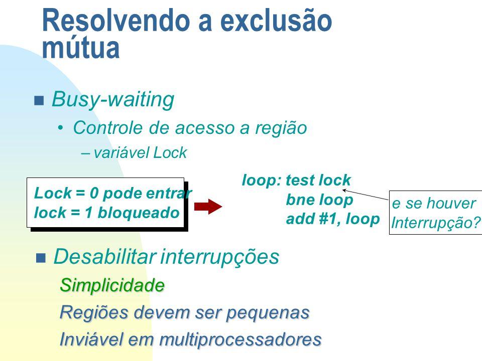 Resolvendo a exclusão mútua n Busy-waiting Controle de acesso a região –variável Lock Lock = 0 pode entrar lock = 1 bloqueado loop: test lock bne loop