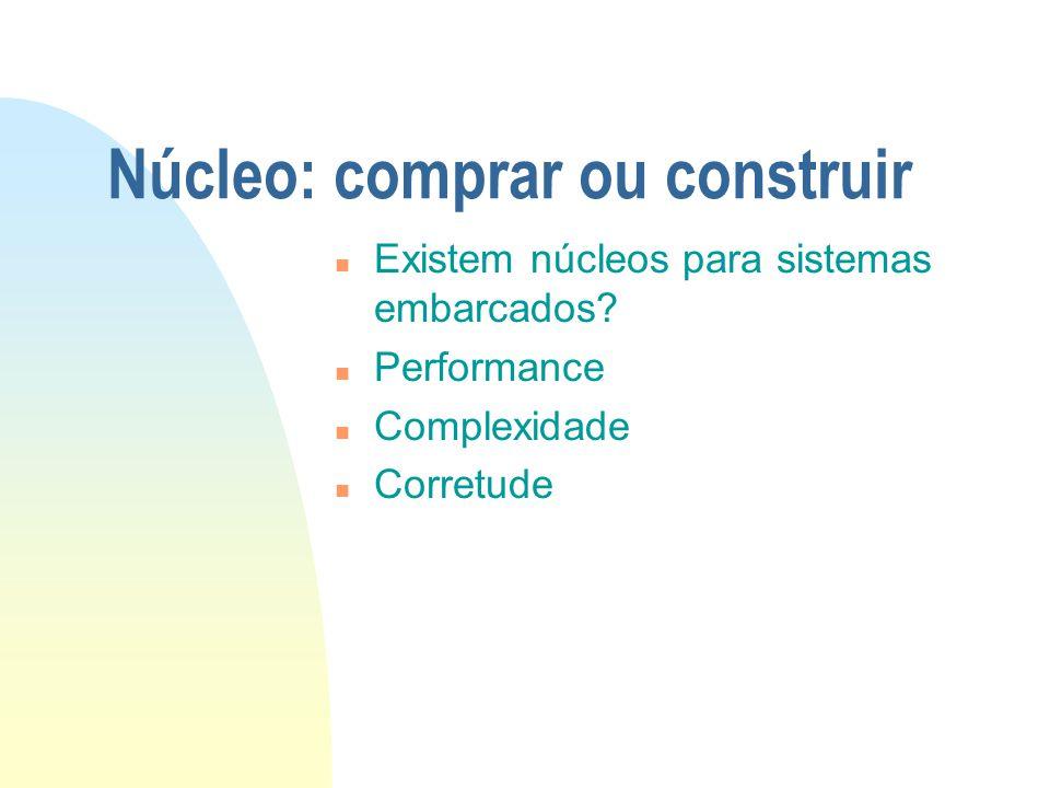 Núcleo: comprar ou construir n Existem núcleos para sistemas embarcados? n Performance n Complexidade n Corretude