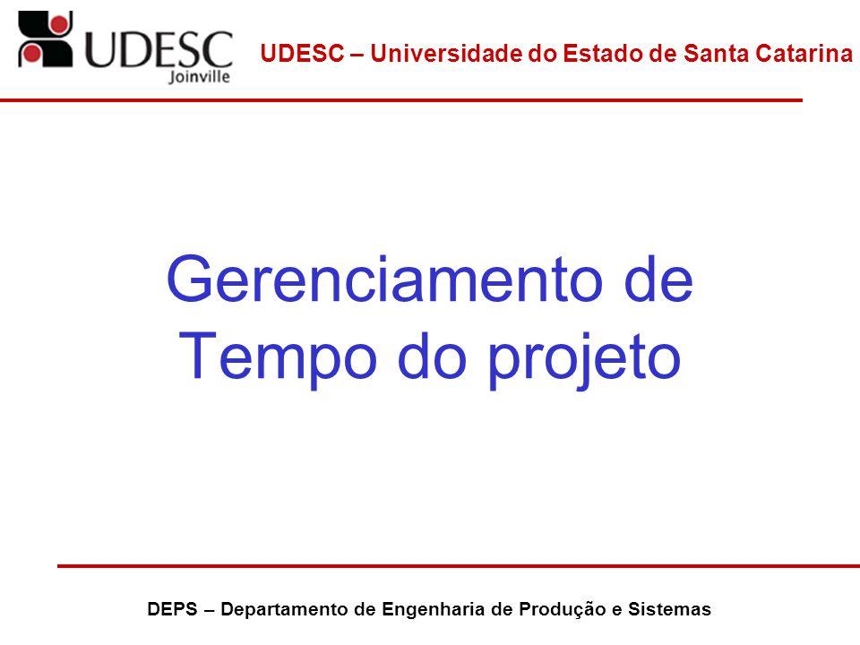 UDESC – Universidade do Estado de Santa Catarina DEPS – Departamento de Engenharia de Produção e Sistemas Definição das Atividades Envolve identificar e documentar o trabalho planejado para ser realizado ou seja produzir as diversas entregas do projeto