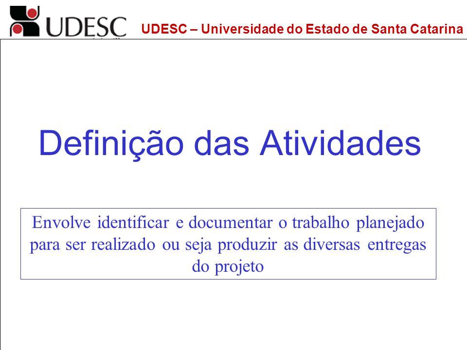UDESC – Universidade do Estado de Santa Catarina DEPS – Departamento de Engenharia de Produção e Sistemas Definição das Atividades Envolve identificar
