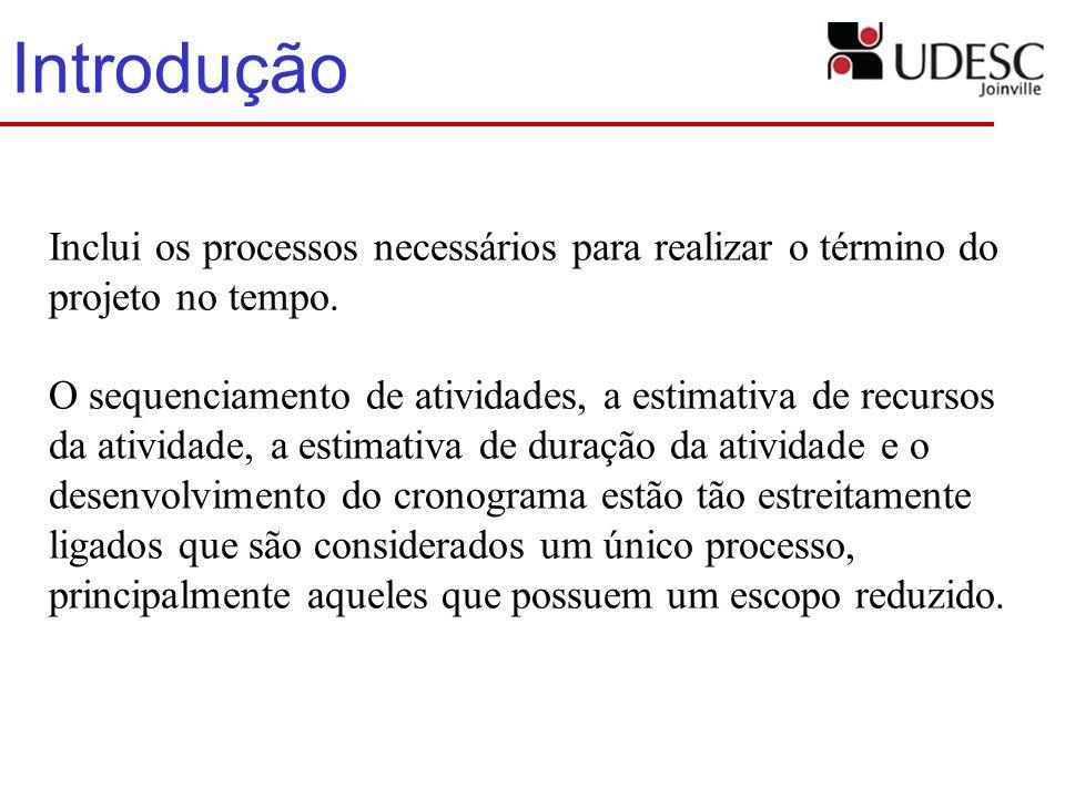 Introdução Inclui os processos necessários para realizar o término do projeto no tempo. O sequenciamento de atividades, a estimativa de recursos da at
