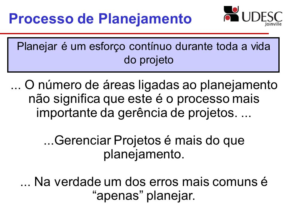 Processo de Planejamento Planejar é um esforço contínuo durante toda a vida do projeto... O número de áreas ligadas ao planejamento não significa que