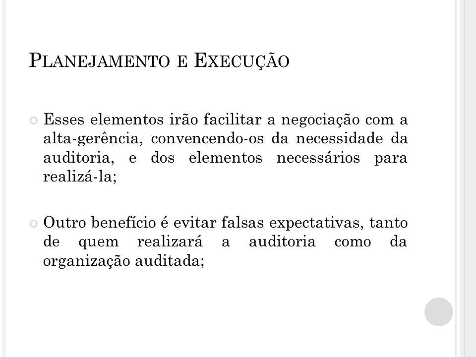 P LANEJAMENTO E E XECUÇÃO Definição de recursos necessários: Humanos: Mão de obra especializada; Consultores externos; Treinamento/capacitação.