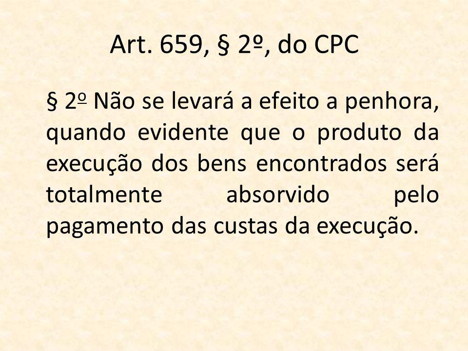 Art. 659, § 2º, do CPC § 2 o Não se levará a efeito a penhora, quando evidente que o produto da execução dos bens encontrados será totalmente absorvid