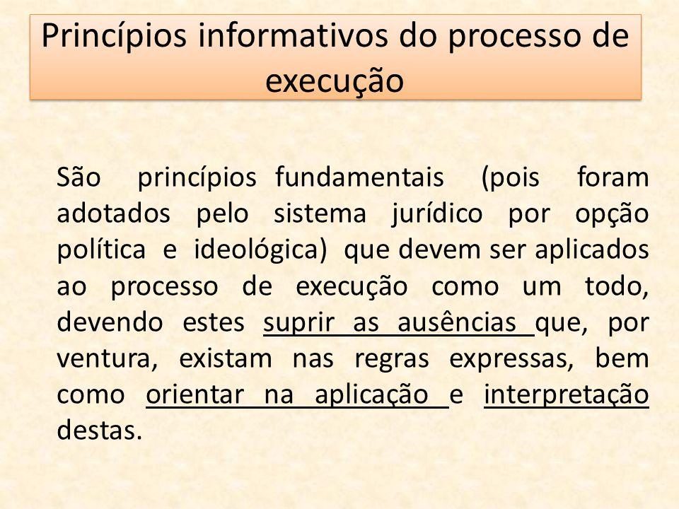 Princípios informativos do processo de execução São princípios fundamentais (pois foram adotados pelo sistema jurídico por opção política e ideológica