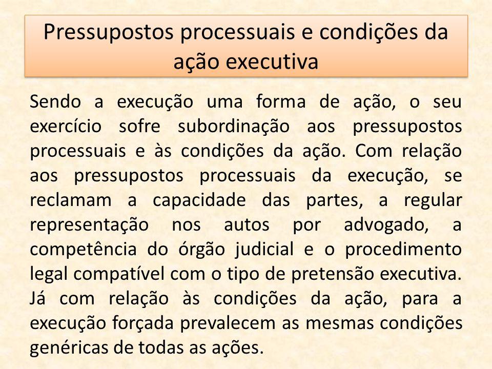 Pressupostos processuais e condições da ação executiva Sendo a execução uma forma de ação, o seu exercício sofre subordinação aos pressupostos process