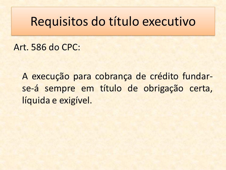 Requisitos do título executivo Art. 586 do CPC: A execução para cobrança de crédito fundar- se-á sempre em título de obrigação certa, líquida e exigív