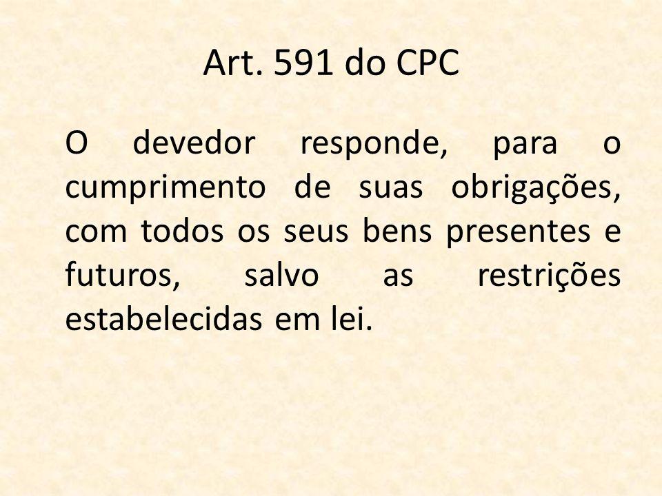 Art. 591 do CPC O devedor responde, para o cumprimento de suas obrigações, com todos os seus bens presentes e futuros, salvo as restrições estabelecid