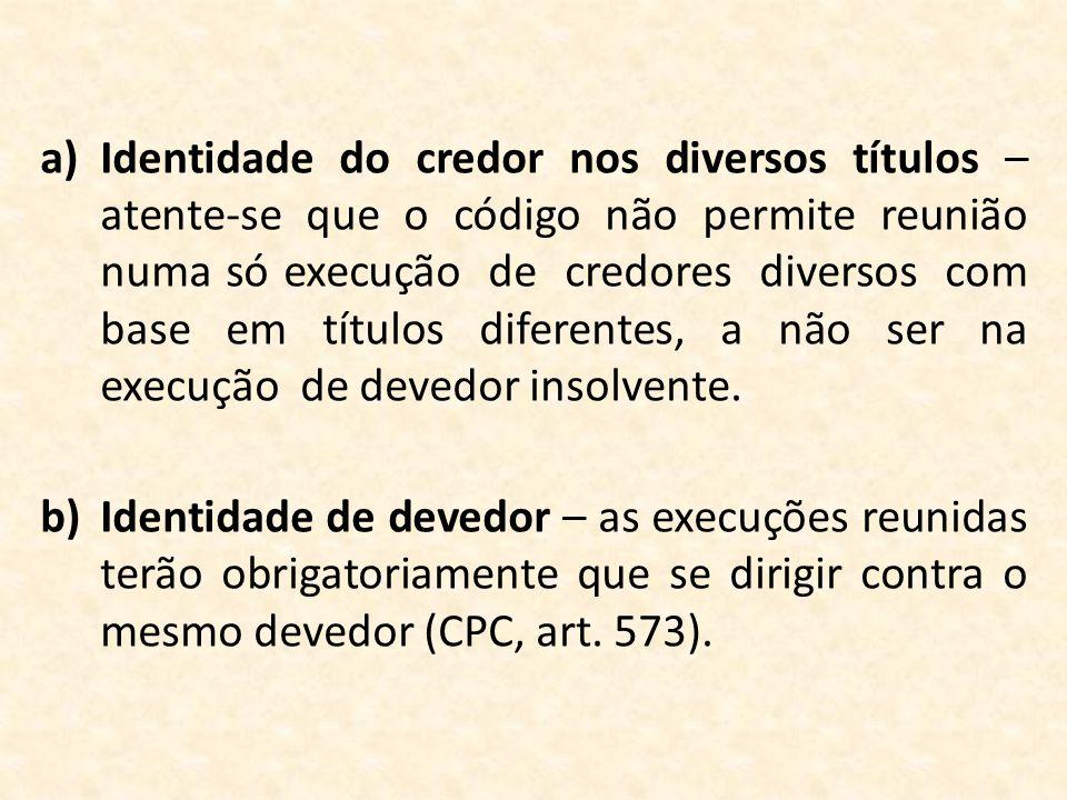 a)Identidade do credor nos diversos títulos – atente-se que o código não permite reunião numa só execução de credores diversos com base em títulos dif