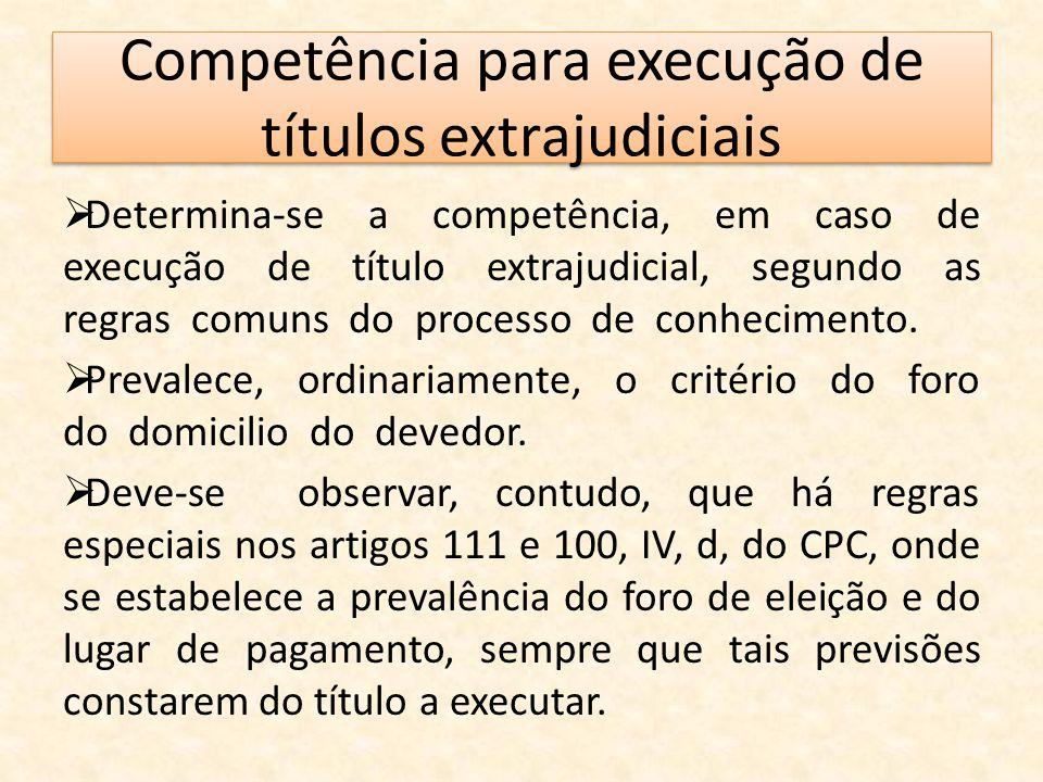 Competência para execução de títulos extrajudiciais  Determina-se a competência, em caso de execução de título extrajudicial, segundo as regras comun