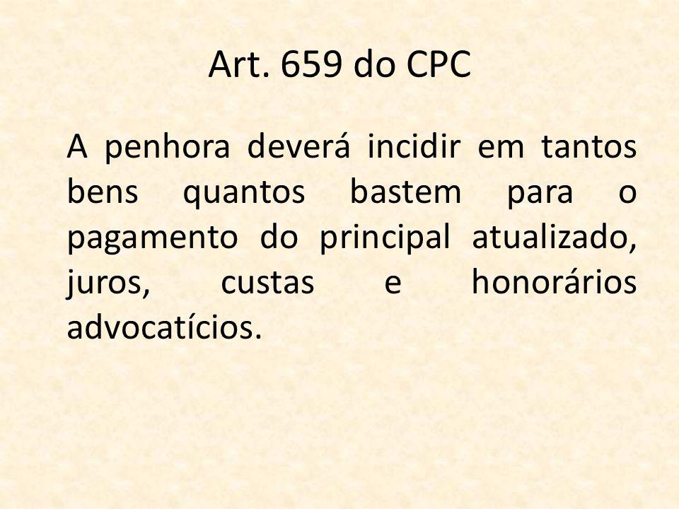 Art. 659 do CPC A penhora deverá incidir em tantos bens quantos bastem para o pagamento do principal atualizado, juros, custas e honorários advocatíci