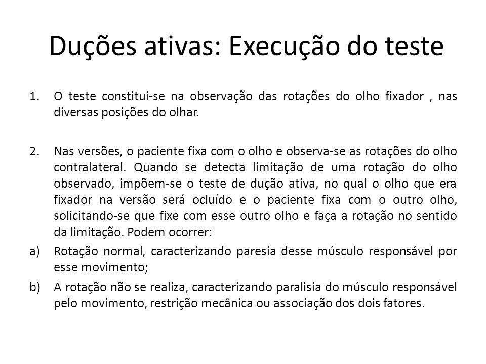 Duções ativas: Execução do teste 1.O teste constitui-se na observação das rotações do olho fixador, nas diversas posições do olhar. 2.Nas versões, o p
