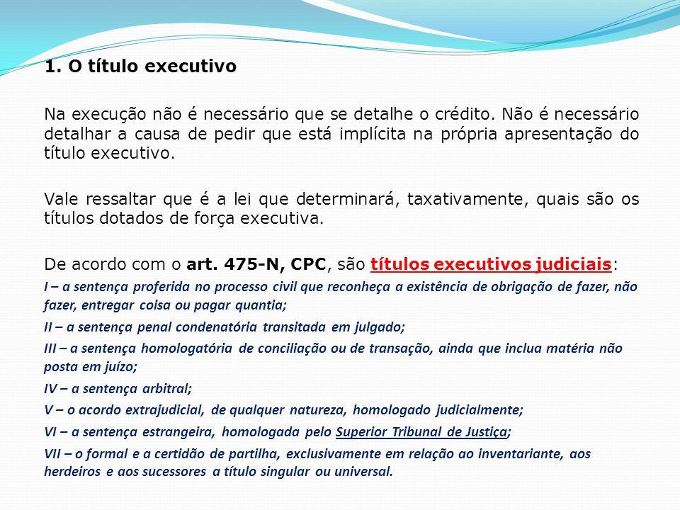 1.O título executivo Na execução não é necessário que se detalhe o crédito.