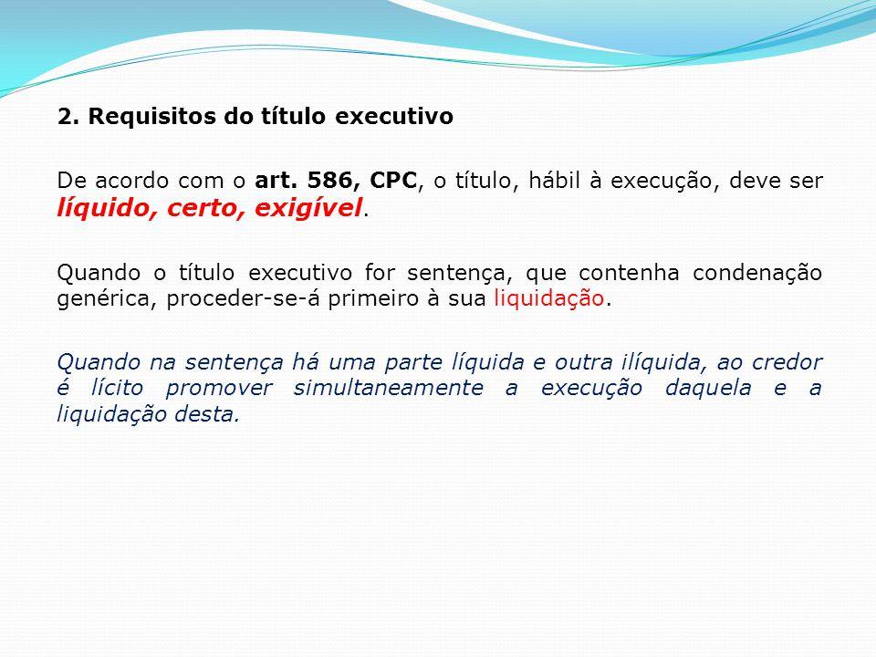 2.Requisitos do título executivo De acordo com o art.