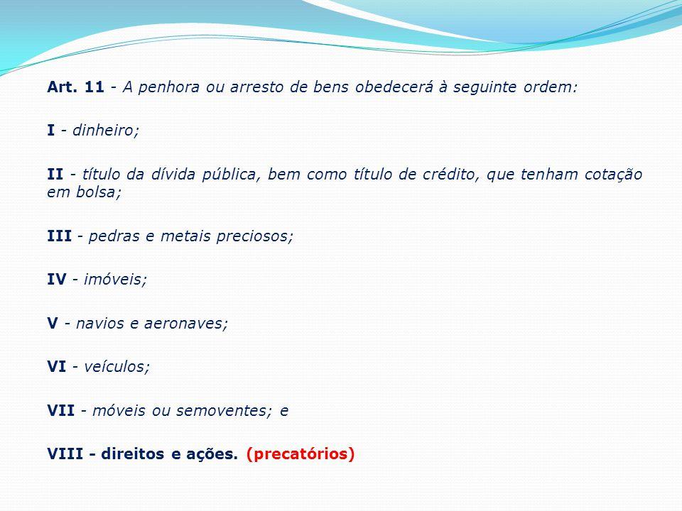 Art. 11 - A penhora ou arresto de bens obedecerá à seguinte ordem: I - dinheiro; II - título da dívida pública, bem como título de crédito, que tenham