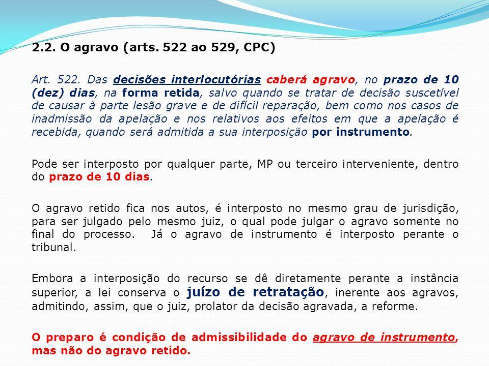 2.2.O agravo (arts. 522 ao 529, CPC) Art. 522.