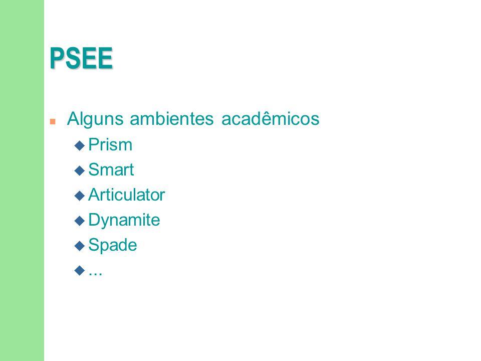 PSEE n Alguns ambientes acadêmicos u Prism u Smart u Articulator u Dynamite u Spade u...