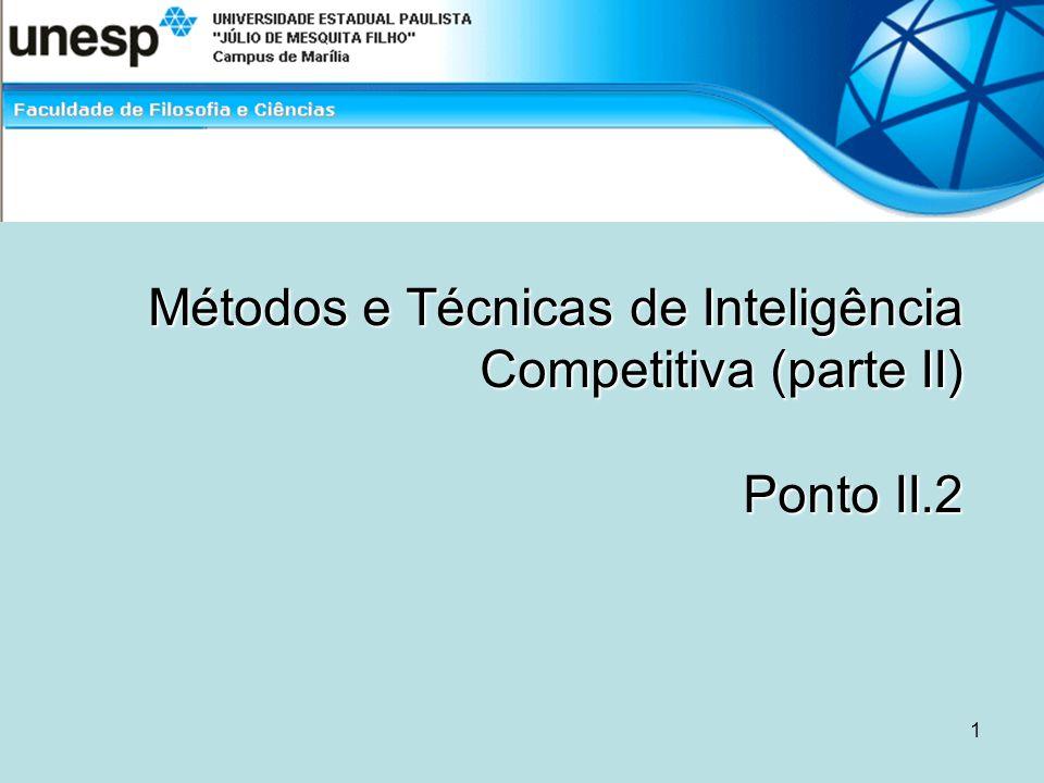 Métodos e Técnicas de Inteligência Competitiva (parte II) Ponto II.2 1