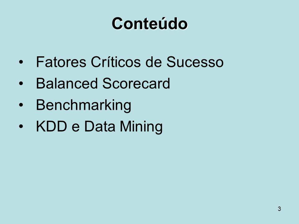 3 Conteúdo Fatores Críticos de Sucesso Balanced Scorecard Benchmarking KDD e Data Mining