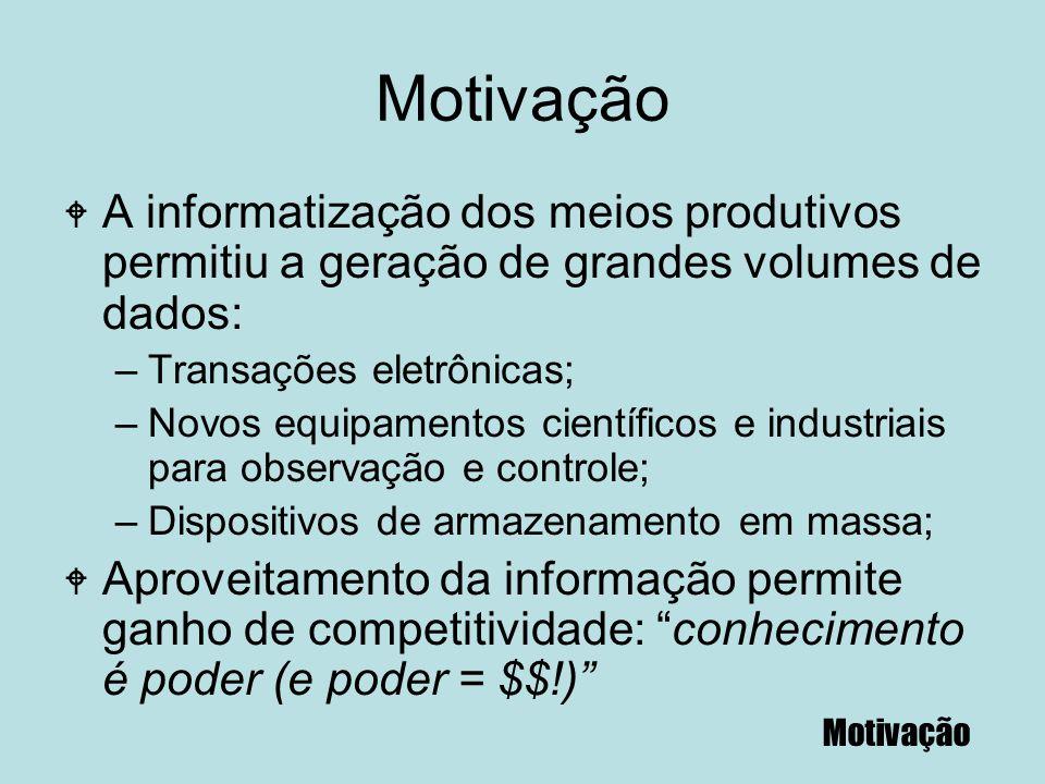 Motivação W A informatização dos meios produtivos permitiu a geração de grandes volumes de dados: –Transações eletrônicas; –Novos equipamentos científ