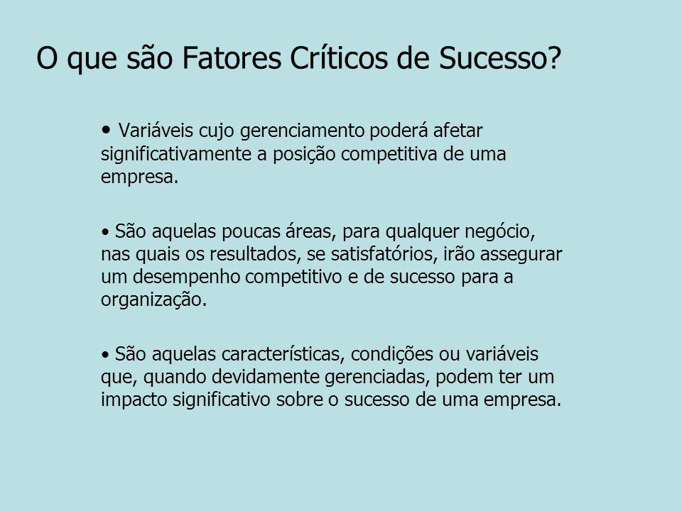 O que são Fatores Críticos de Sucesso? Variáveis cujo gerenciamento poderá afetar significativamente a posição competitiva de uma empresa. São aquelas