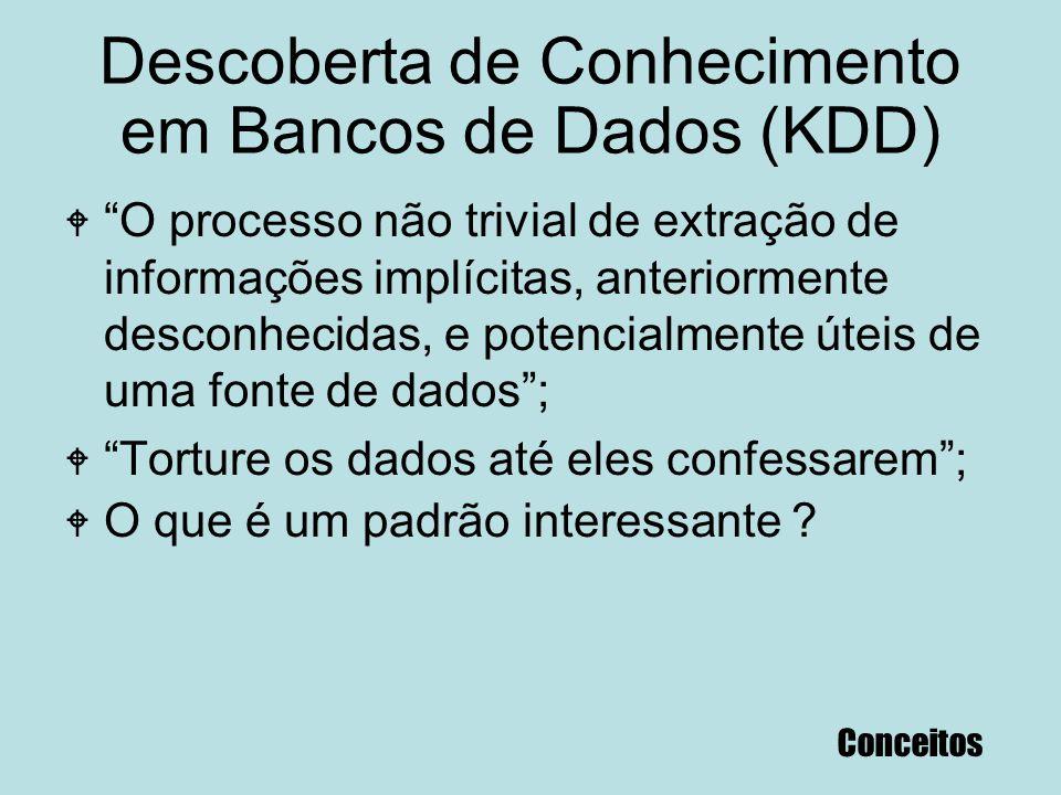 """Descoberta de Conhecimento em Bancos de Dados (KDD) W """"O processo não trivial de extração de informações implícitas, anteriormente desconhecidas, e po"""