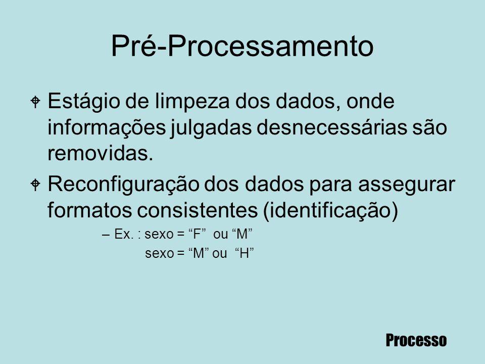 68 Pré-Processamento W Estágio de limpeza dos dados, onde informações julgadas desnecessárias são removidas. W Reconfiguração dos dados para assegurar