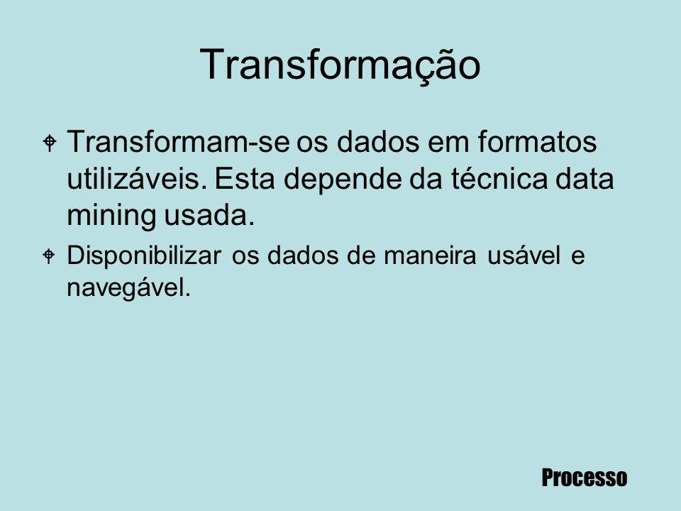 70 Transformação W Transformam-se os dados em formatos utilizáveis. Esta depende da técnica data mining usada. W Disponibilizar os dados de maneira us