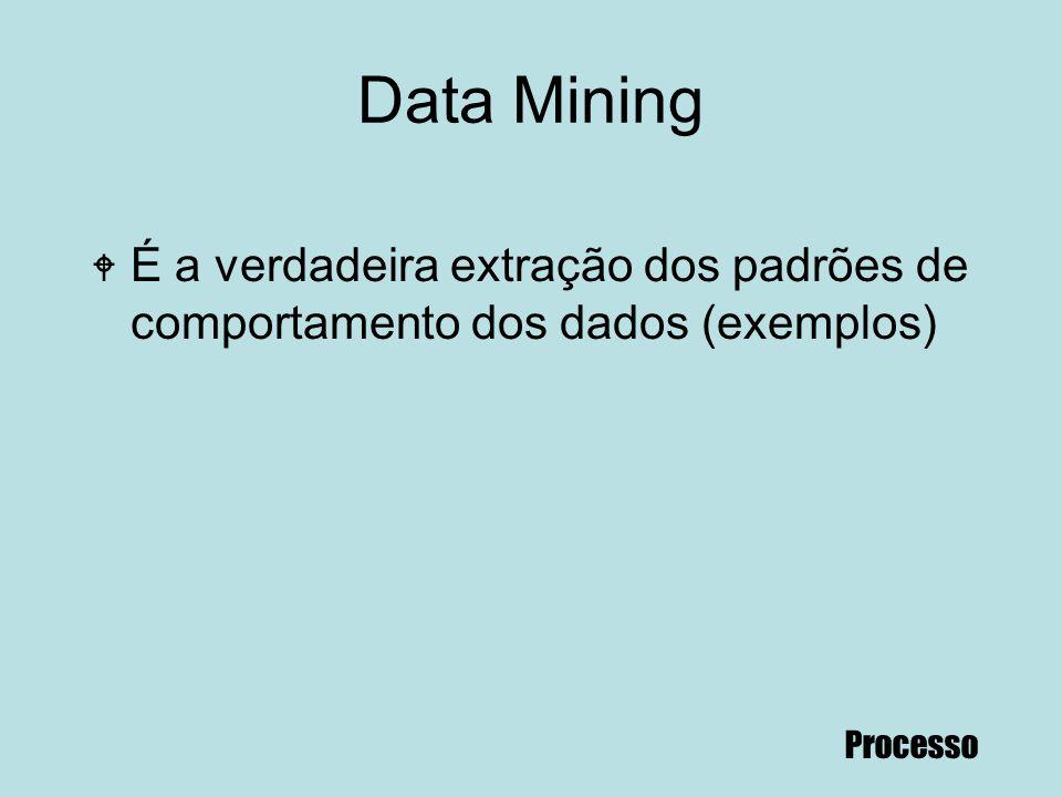 72 Data Mining W É a verdadeira extração dos padrões de comportamento dos dados (exemplos) Processo