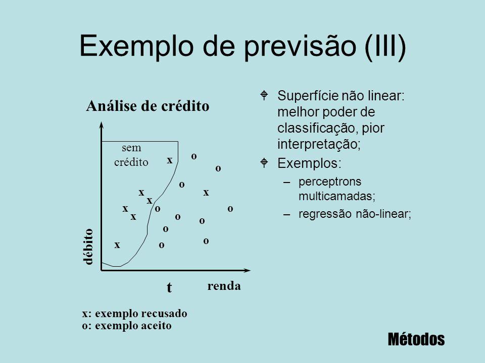 Exemplo de previsão (III) WSuperfície não linear: melhor poder de classificação, pior interpretação; WExemplos: –perceptrons multicamadas; –regressão