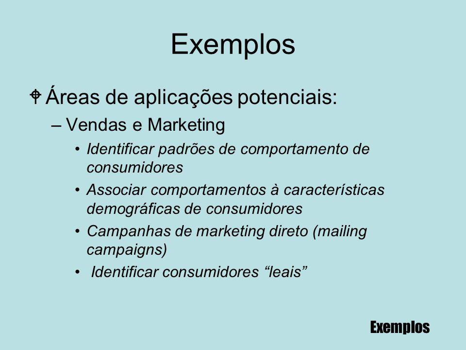 84 Exemplos WÁreas de aplicações potenciais: –Vendas e Marketing Identificar padrões de comportamento de consumidores Associar comportamentos à caract