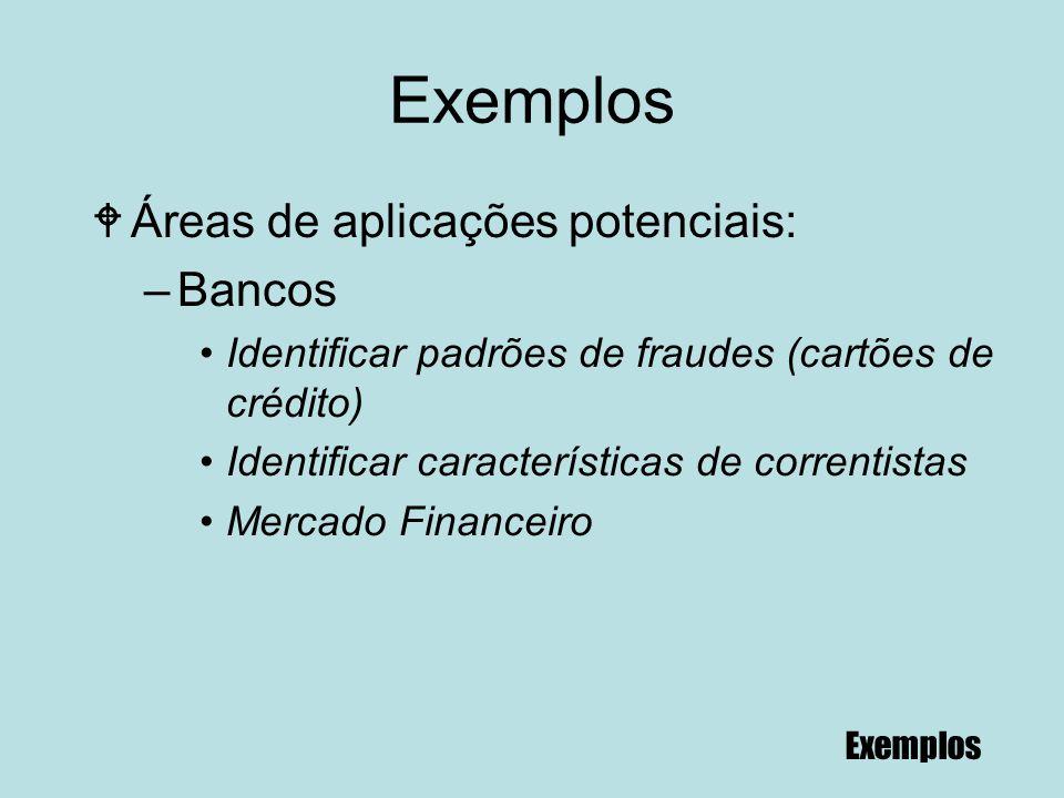 85 Exemplos WÁreas de aplicações potenciais: –Bancos Identificar padrões de fraudes (cartões de crédito) Identificar características de correntistas M