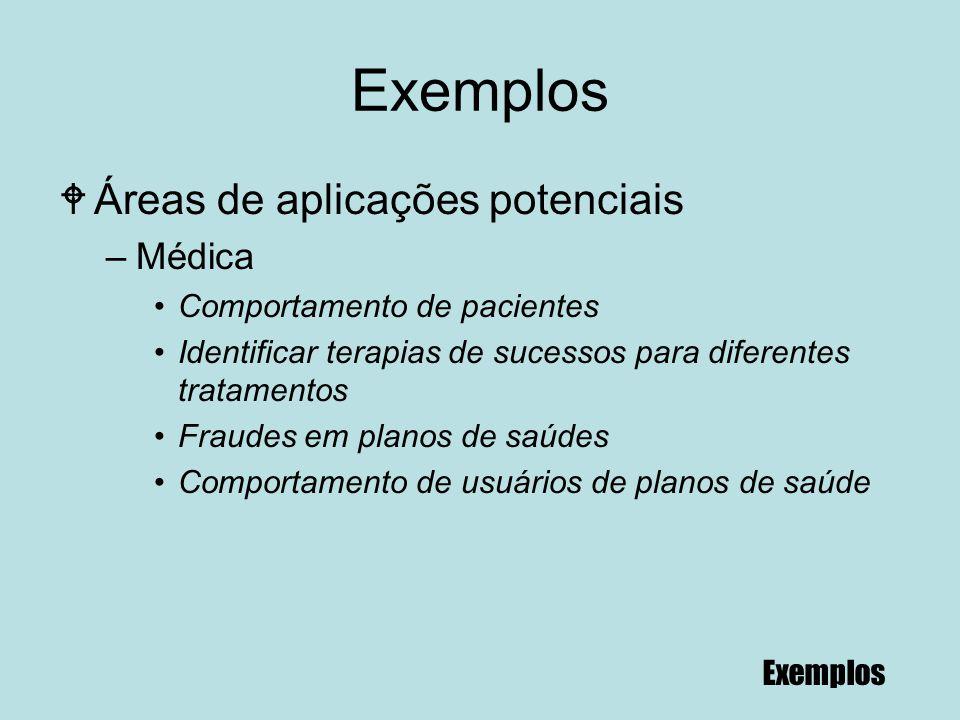 86 Exemplos WÁreas de aplicações potenciais –Médica Comportamento de pacientes Identificar terapias de sucessos para diferentes tratamentos Fraudes em