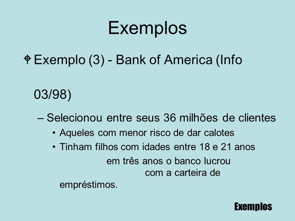 89 Exemplos WExemplo (3) - Bank of America (Info 03/98) –Selecionou entre seus 36 milhões de clientes Aqueles com menor risco de dar calotes Tinham fi